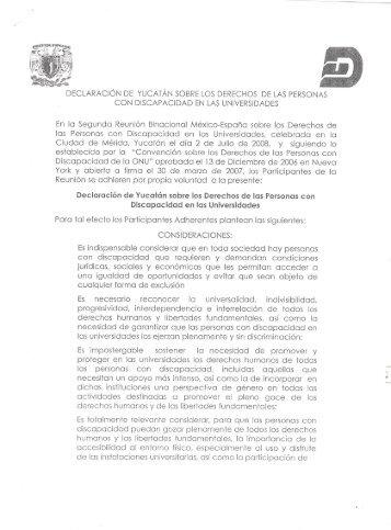DECLARACIÓN DE YUCATÁN SOBRE LOS DERECHOS DE LAS ...