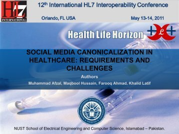 social media canonicalization in healthcare: requirements and ... - HL7