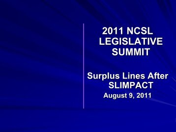 2011 NCSL LEGISLATIVE SUMMIT - CSG Knowledge Center