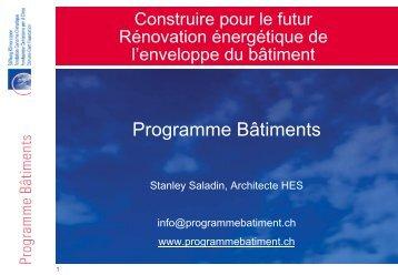 Programme Bâtiments - Schweizer Metallbau