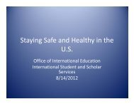 Staying Safe and Healthy in the U.S. - Office of International Education