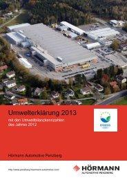 Umwelterklärung 2013 - Hörmann Automotive Penzberg GmbH