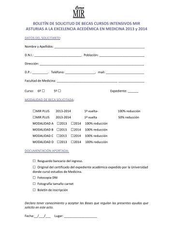 Boletín de solicitud - Curso Intensivo MIR Asturias