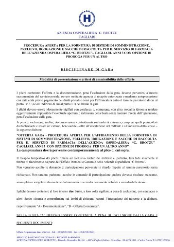 Disciplinare - Azienda ospedaliera G. Brotzu