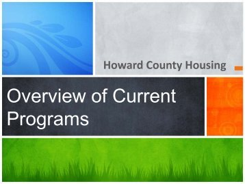 Overview of Current Programs - Plan Howard 2030