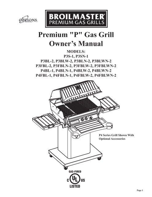 Premium P Gas Grill Owner S Manual Broilmaster