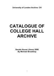 identity statement - Senate House Libraries - University of London
