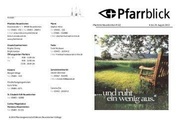 Pfarrblick Neuenkirchen #132 4. bis 24. August 2013