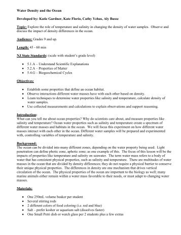 Water Density The Ocean Lesson Plan Middle High
