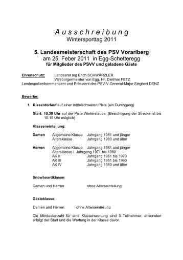 Gesamte Ausschreibung als .pdf - PSV Vorarlberg