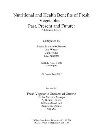 Nutritional and Health Benefits of Fresh Vegetables – Past ... - Atrium