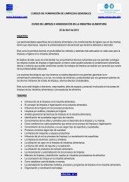 Curso Intensivo LIMPIEZA E HIGIENIZACIÓN ... - CRESCA - UPC