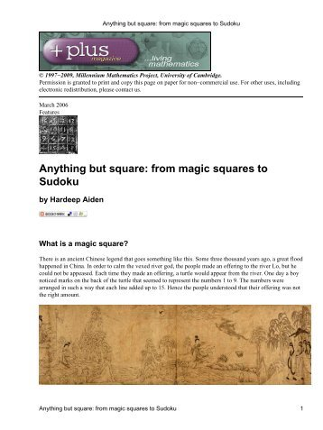 Anything but square: from magic squares to Sudoku - Plus Magazine
