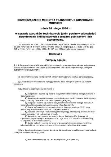 Rozporządzenie Ministra Transportu i Gospodarki Morskiej z dnia ...