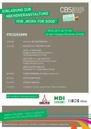 WORK FOR GOOD - Cologne Business School