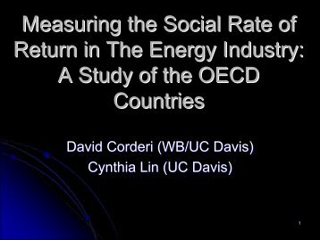 Measuring the Social Rate of Return in The Energy Industry: A Study ...
