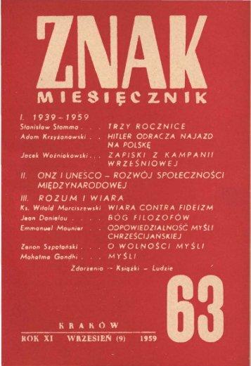 Nr 63, wrzesień 1959 - Znak