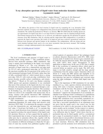 X-ray absorption spectrum of liquid water from molecular dynamics ...