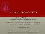 Language Group Specific Informational Report : Thai - RITELL