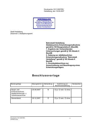 Beschlussvorlage - Stadtpolitik Heidelberg