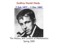 Lecture 1. Biography of Godfrey Harold Hardy - University of ...