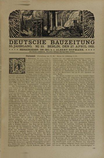 deutsche bauzeitung 55.jahrgang. n2 33. berlin, den 27. april 1921.