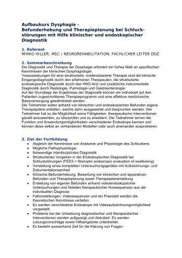 Befunderhebung und Therapieplanung bei Schluck - Das ...
