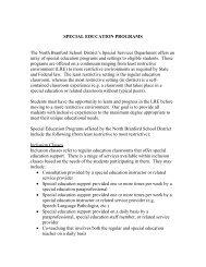 SPECIAL EDUCATION PROGRAMS The North Branford School ...