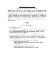 Interdisciplinary Writing I and II Interdisciplinary Writing I and II ...