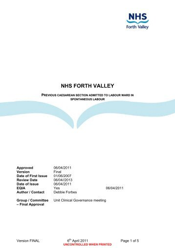 Process for the Development and ... - NHS Forth Valley