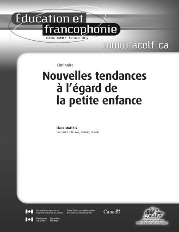 Éducation et francophonie, vol. XXXIII, n o 2, automne 2005 - acelf