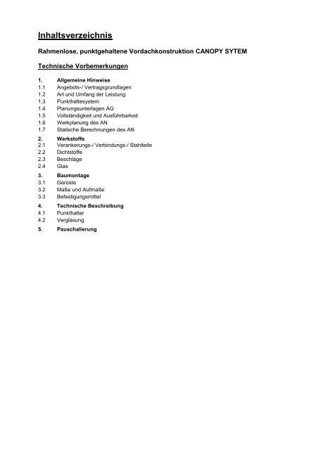 Inhaltsverzeichnis - Glassline GmbH