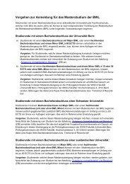 Merkblatt Anmeldung zum Masterstudium BWL - Universität Bern