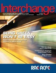 BEING GREEN WON'T BE EASY - Railway Association of Canada