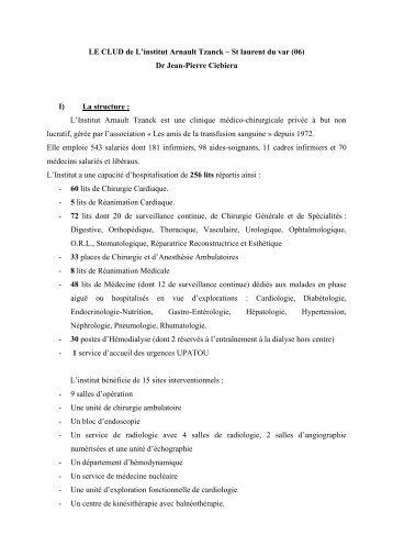 Dr Jean-Pierre Ciebiera I) La structure - CNRD