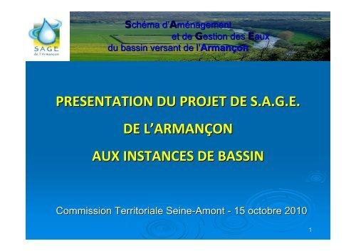 presentation du projet de sage de l'armançon aux instances de bassin