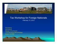 Tax Workshop for Foreign Nationals - Tax Services