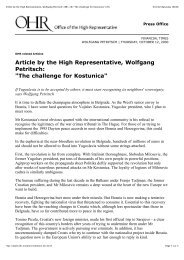 Article by the High Representative, Wolfgang Petritsch: