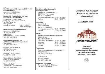 Programm 2. Halbjahr 2013 - Club 74 e.V.