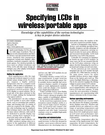 Specifying LCDs in wireless/portable apps - KYOCERA Display