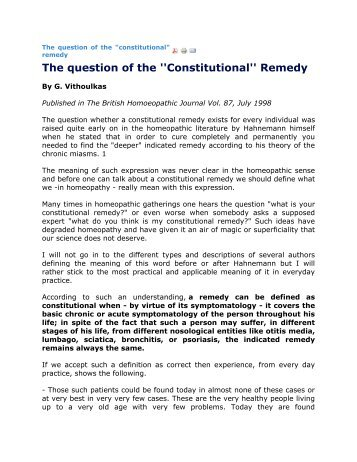 The question of the ''Constitutional'' Remedy - Hpathy