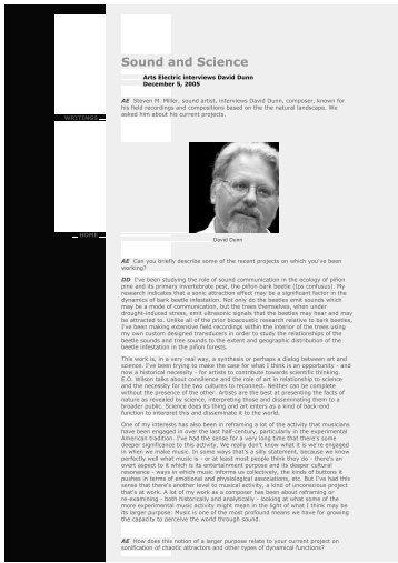 ArtsElectric David Dunn - An International Archive of Sound Art