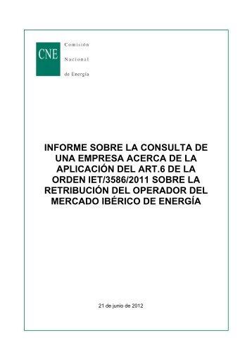informe sobre la consulta de una empresa acerca de la aplicación ...