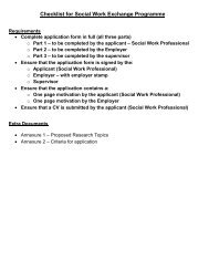 Application Form Social Work Professionals - The Health and ...