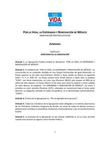 estatutos por la vida, la esperanza - Instituto Electoral y de ...
