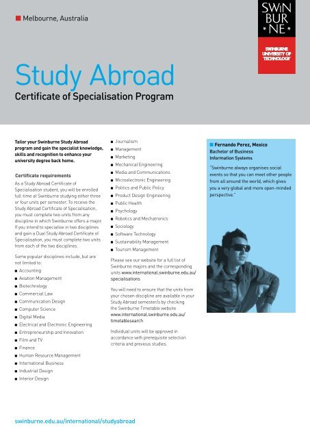 Certificate Of Specialisation Guide International Students