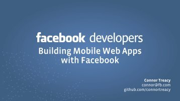 Building Mobile Web Apps with Facebook