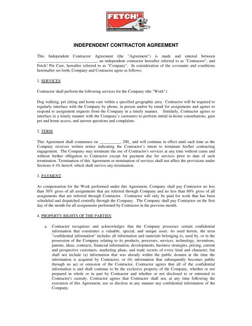Independent Contractor Agreement Fetch Pet Care