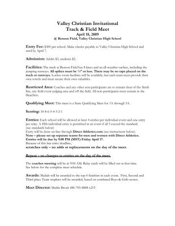 Valley Christian Invitational Track & Field Meet - Arizonatrack.com