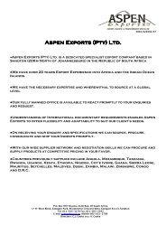 Aspen Exports (Pty) Ltd. Aspen Exports (Pty) Ltd. - Plusto.com